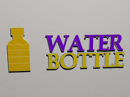 3D illustration of water bottle graphics and text made by metallic dice letters for the related meanings of the concept and presentations, 3D illustration