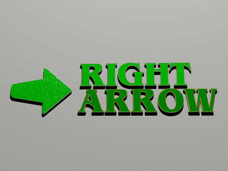 3D graphical image of RIGHT ARROW vertically along with text built by metallic cubic letters from the top perspective, excellent for the concept presentation and slideshows, 3D illustration Imagens