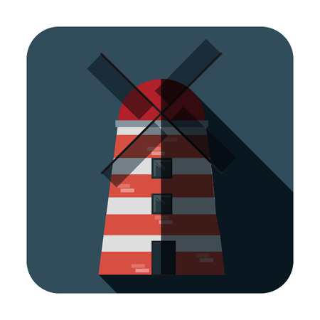Red and white windmill on a blue background, Mill icon, Vector illustration