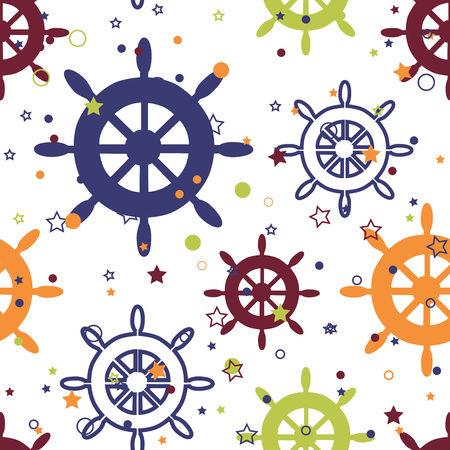 Vector repeat seamless pattern with colorful wheels, stars and circles on white background. Great as a textile print, party invitation or packaging.