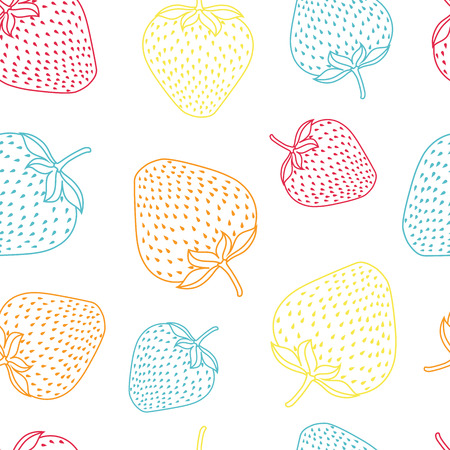 Vector multicolor line strawberries spring summer repeat pattern background. Pink, orange, blue and yellow strawberries. Surface pattern.