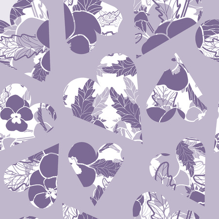 Floral Vector seamless pattern with purple pansies in hearts on purple background. Retro Vintage style pattern. Perfect for weddings and anniversary cards