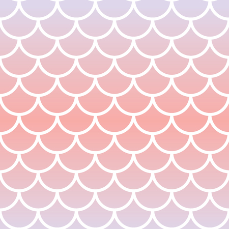 Vector seamless repeat pattern background with mermaid scale and pink and purple soft pastel gradient.