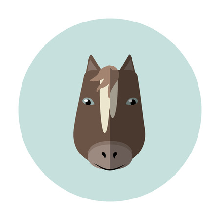 Vector icon of horse design on a blue round background.