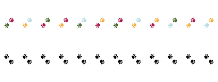 Pink, blue and green Cat Paw Dog Paw vector seamless repeat border .Black paws border. Vertical border. Illustration