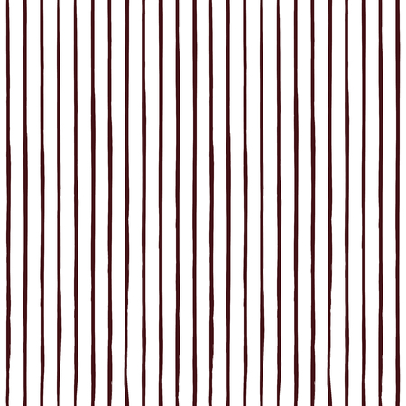 Decorative repeat seamless pattern with vertical handdrawn lines. Hand painted burgundy stripes on white background. Trendy endless texture for digital paper, fabric, backdrops, wrapping