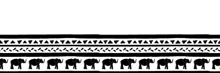 Decorative repeat seamless border with hand drawn elephants lines and triangles. Hand painted black stripes and triangles on white background. Banner.
