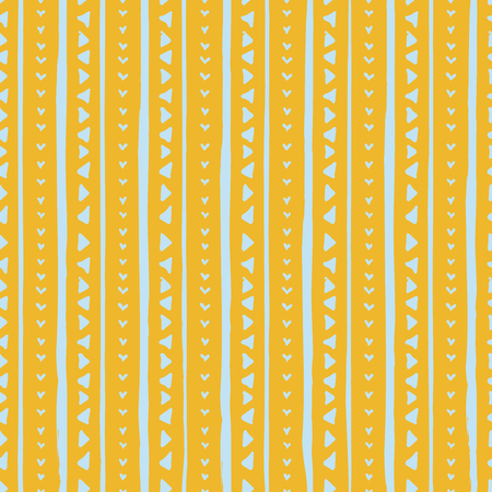 Decorative repeat seamless pattern with hand drawn lines and triangles. Hand painted blue stripes and triangles on yellow background. Trendy endless texture for digital paper, fabric, backdrops, wrapping