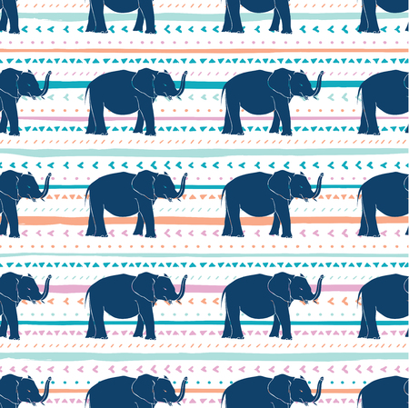 Decorative repeat seamless pattern with hand drawn elephants lines and triangles. Hand painted orange, teal, purple and blue stripes and triangles on white background. Texture for digital paper, fabric, backdrops, wrapping Çizim