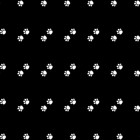 Black and white Cat Paw Dog Paw vector seamless repeat pattern . Surface pattern.