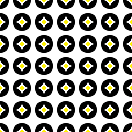 Geometric vector seamless pattern. Black and yellow color