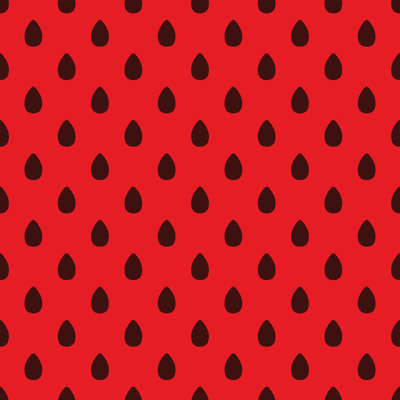 Vector repeat seamless watermelon pattern. Dark brown seeds on red background. Wrapping paper, wallpaper, greeting cards.