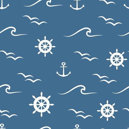 Roues blanches, vagues, oiseaux et ancres sur fond bleu vector modèle sans couture.