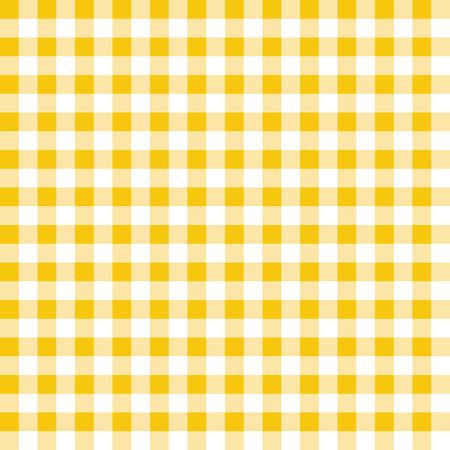 Sfondo vettoriale plaid giallo e bianco. Motivo a scacchi ripetuto senza soluzione di continuità.