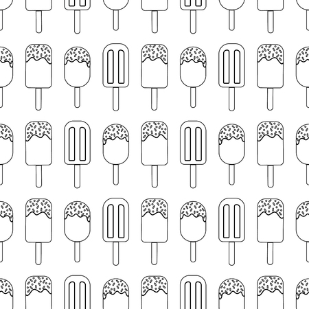 Vector repeat seamless pattern. black outline ice creams on white background. Black and white summer surface pattern. Ilustração