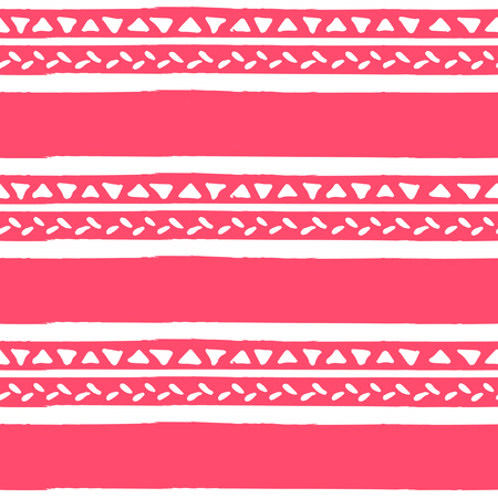 Vector repeat seamless pattern. Ethnic ornament, geometric stripe background. in trendy color of 2019, living coral. Surface pattern.