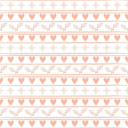 Christmas Seamless vector pattern with hearts and snowflakes