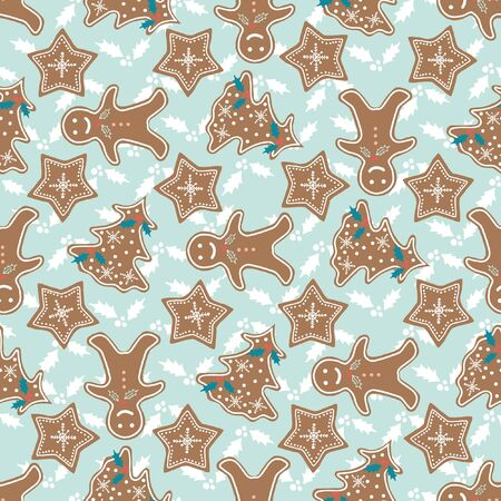 Vector repeat seamless pattern with hand drawn gingerbread cookies. Illusztráció