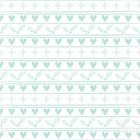 Christmas Seamless vector pattern with hearts and snowflakes. Иллюстрация