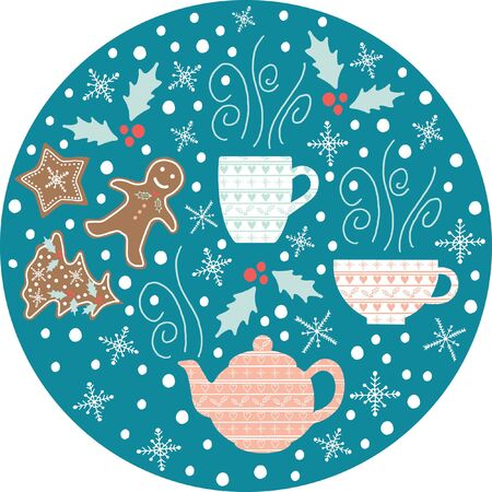 Vector Christmas illustration with hand drawn teapots, tea cups, snowflakes and gingerbread cookies.