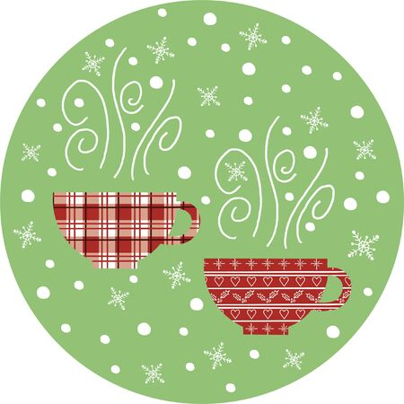 Vector Christmas illustration with tea cups and hand drawn snowflakes.