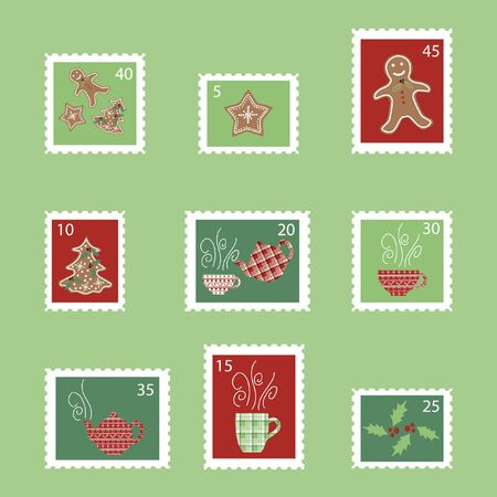 Cute vector Postage stamps for Christmas. Ilustracja
