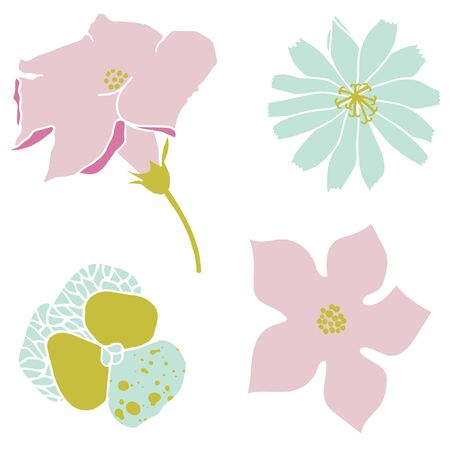 Vector illustration with flowers. Cute violet, chicory and zucchini flowers.