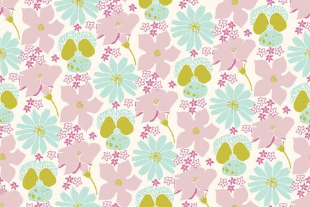 Vector reapeat seamless pattern with flowers. Cute violet, chicory and zucchini flowers.