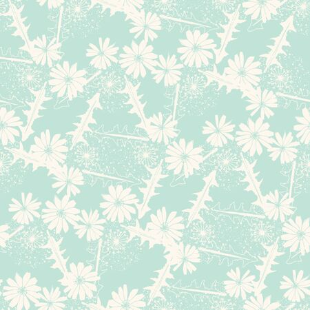 Romantic vector floral seamless pattern with blue chicory flowers.