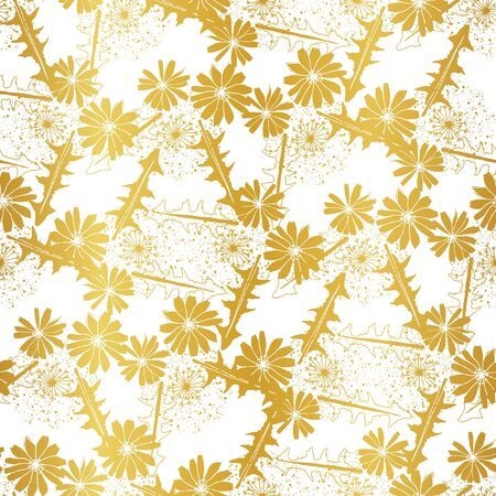 Gold foil Chicory flowers. Vector repeat seamless pattern.
