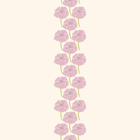 WebVector seamless vertical banner with pink geranium flowers. Иллюстрация