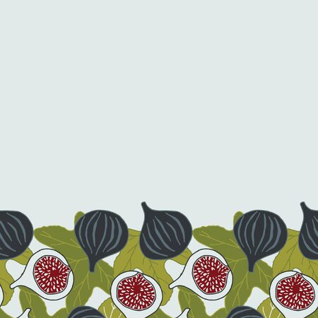 Vector seamless border with figs.