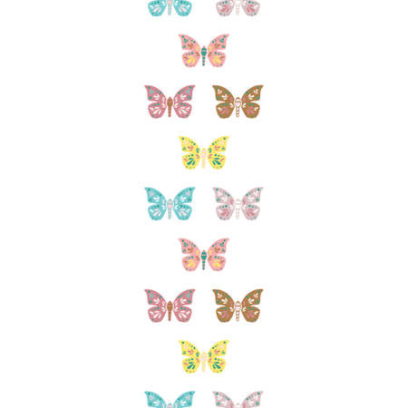 Vector repeat seamless vertical border with butterflies. Retro colorful butterfly illustration.