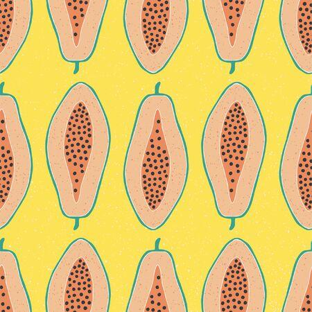 Pop papaya repeat seamless pattern. Yellow background. I 矢量图像