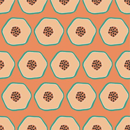 Pop papaya repeat seamless pattern. Coral orange background.