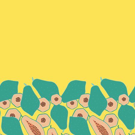 Pop papaya repeat seamless horizontal border. Yellow background.