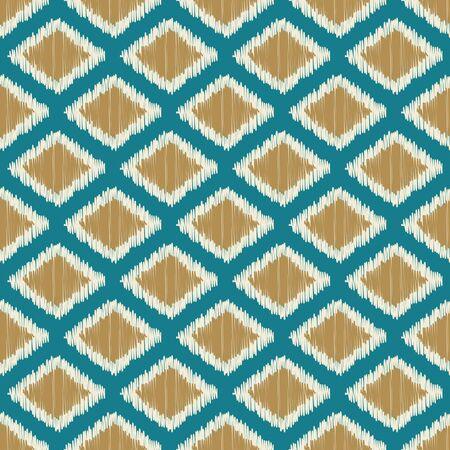 Ethnic ikat diamond pattern.Vector seamless illustration.