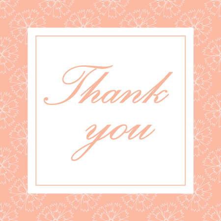 Thank you card vector with carnations. Perfect for wedding, greeting or invitation design 免版税图像