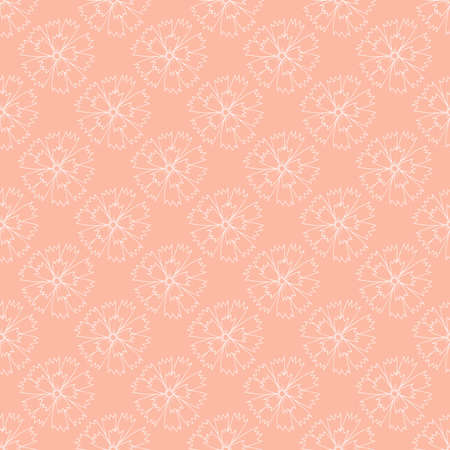 Floral Vector repeat seamless pattern with carnations. Small bouquets with blue flowers.