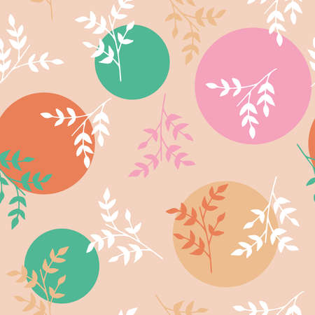 Vector seamless pattern with small branches and circles. Can be used for holiday giftwrap, fabric, wallpaper, stationery, packaging.
