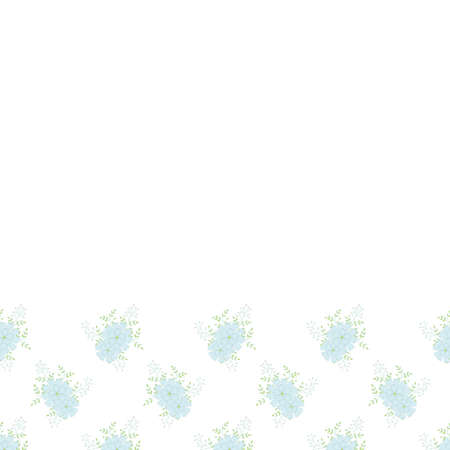 Floral Vector repeat seamless border with carnations. Small bouquets with blue flowers.