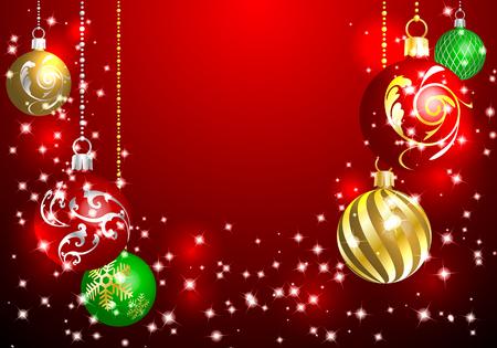 Adorno navideño con fondo rojo Ilustración de vector