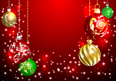 Christmas ornament with background red Ilustración de vector
