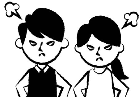 Facial expressions of angry. Upper body of man and woman. Vector illustration. Vectores