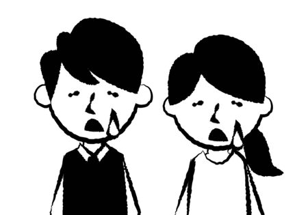 Facial expressions of sad. Upper body of man and woman. Vector illustration. Vectores
