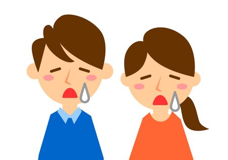 Facial expressions of sad. Upper body of man and woman. Vector illustration. Çizim