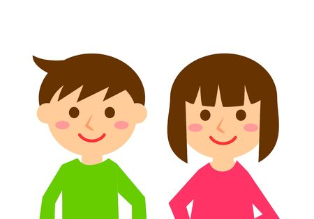 Facial expressions of smile. Upper body of boy and girl. Vector illustration.