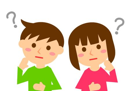 Facial expressions of thinking. Upper body of boy and girl. Vector illustration. Illustration