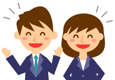 Facial expressions of laugh. Upper body of male and female office workers. Vector illustration.