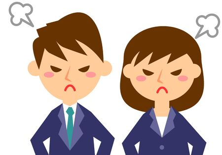 Facial expressions of angry. Upper body of male and female office workers. Vector illustration.